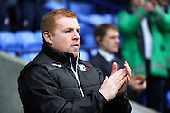 Bolton Wanderers Manager Neil Lennon looks on prior to kick off. Skybet football league championship match, Bolton Wanderers v Huddersfield Town at the Macron stadium in Bolton, Lancs on Saturday 29th November 2014.<br /> pic by Chris Stading, Andrew Orchard sports photography.