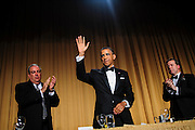President Barack Obama acknowledges the audience folllowing his comedic address during the White House Correspondents' Association (WHCA) annual dinner in Washington, District of Columbia, U.S., on Saturday, April 27, 2013. Photographer: Pete Marovich/Bloomberg