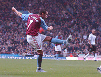 Credit: Back Page Images. Aston Villa v Fulham, FA Premiership, 23/10/2004. Lee Hendrie scores the 2nd goal for Aston Villa