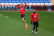 Gareth Bale of Wales (l) jokes around with Joe Ledley of Wales ®  during the Wales football team training at the Cardiff city Stadium in Cardiff , South Wales on Saturday 8th October 2016, the team are preparing for their FIFA World Cup qualifier home to Georgia tomorrow. pic by Andrew Orchard, Andrew Orchard sports photography