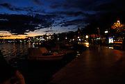 Waterfront, harbour and promenade after sunset, Makarska, Croatia