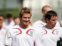 Photo: Chris Ratcliffe.<br />England Training Session. FIFA World Cup 2006. 29/06/2006.<br />David Beckham arrives for training.
