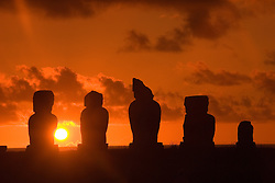 Chile, Easter Island: Statues or moai on a platform or ahu called Ahu Tahai, near the town of Hanga Roa..Photo #: ch206-32640.Photo copyright Lee Foster www.fostertravel.com lee@fostertravel.com 510-549-2202