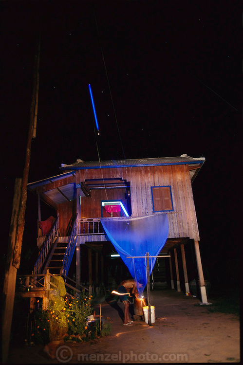 In the Cambodian town of Siem Reap, the gateway to the ruins of Angkor Wat, an ingenious device is popular among the townspeople for catching crickets. A black light is hung above a plastic sheet that glows with an ultraviolet hue attractive to insects. The crickets are attracted to the light, land on the sheet, and slip down into a bucket of water, where they promptly drown. The Liemh family deep-fries the crickets and sells them in the local market for 6,000 riels, $2.50 US, per small basket.  Siem Reap, Cambodia. (Man Eating Bugs: The Art and Science of Eating Insects page 50)
