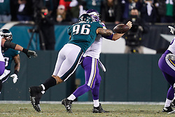Philadelphia Eagles defensive end Derek Barnett #96 forces a fumble during the NFL NFC Championship game between The Minnesota Vikings and The Philadelphia Eagles at Lincoln Financial Field in Philadelphia on Sunday, January 21st 2018. (Brian Garfinkel/Philadelphia Eagles)