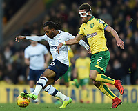 Preston North End's Daniel Johnson battles for possession with Norwich City's Ivo Pinto<br /> <br /> Photographer Jonathan Hobley/CameraSport<br /> <br /> The EFL Sky Bet Championship - Norwich City v Preston North End - Saturday 25th November 2017 - Carrow Road - Norwich<br /> <br /> World Copyright © 2017 CameraSport. All rights reserved. 43 Linden Ave. Countesthorpe. Leicester. England. LE8 5PG - Tel: +44 (0) 116 277 4147 - admin@camerasport.com - www.camerasport.com
