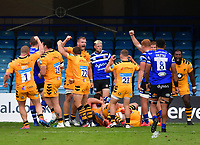 Rugby Union - 2019 / 2020 Gallagher Premiership - Bath vs Wasps<br /> <br /> Wasps players celebrate asReferee Wayne Barnes awards a late penalty try for a 27-23 victory, at the Recreation Ground.<br /> <br /> COLORSPORT/ASHLEY WESTERN