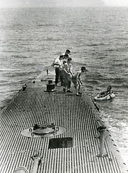 Downed pilot LTJG George Bush is rescued by the Navy submarine, USS Finback on September 2, 1944. Photo by George Bush Presidential Library/MCT/ABACAPRESS.COM
