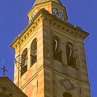 Europe, Italy, Portofino. Portofino church tower on the Mediteranean coast of Italy.