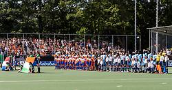The Netherlands and India at the line up during the Champions Trophy match between the Netherlands and India on the fields of BH&BC Breda on June 30, 2018 in Breda, the Netherlands