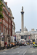 """London, United Kingdom, July 24, 2021: A general view shows an overview of Trafalgar Square and Nelson Column as thousands of people holding banners and placards are gathered during an """"anti-Lockdown"""" demonstration in central London, on Saturday, July 24, 2021. (VX Photo/ Vudi Xhymshiti)"""