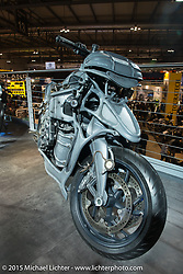 Keiji Kawakita's commissioned custom in BMW's 20,000+ sq foot display area at EICMA, the largest international motorcycle exhibition in the world. Milan, Italy. November 21, 2015.  Photography ©2015 Michael Lichter.