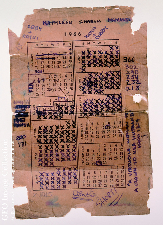 """Pocket calendar of """"Bobby,"""" a soldier apparently killed on September 28, 1966 in the Vietnam War. The soldier carefully marked each day of his time in Vietnam and would have his tour completed in 2 months if he was not killed. The calendar has many annotations regarding Kathleen Sharon McMaster, """"Kathi."""" The heart wrenching document is an artifact left as tribute to an American military casualty at the Vietnam Veterans Memorial in Washington DC. Since its dedication in 1982, visitors have brought offerings to the Vietnam Veterans Memorial to honor and remember those who served in the Vietnam War. Many of these poignant tributes are now preserved in the park's museum collection by the National Park Service."""