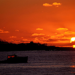 Sunrise at the mouth of New Hampshire's Piscataqua River. Boats.  New Castle, NH