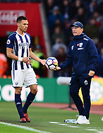 Tony Pulis, the manager of West Bromwich hands the ball to Kieran Gibbs of West Bromwich .Premier league match, Southampton v West Bromwich Albion at the St. Mary's Stadium in Southampton, Hampshire, on Saturday 21st  October 2017.<br /> pic by Bradley Collyer, Andrew Orchard sports photography.