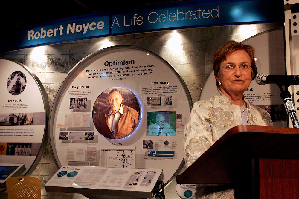Santa Clara, CA - JUNE 15:  Ann Bowers the widow of Robert Noyce speaks as Intel Corporation dedicates an exhibit celebrating the life and accomplishments of co-founder Robert Noyce on June 16, 2005 in Santa Clara, California.  Photo by David Paul Morris