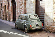Vintage Fiat 500 Nuova. Photographed in Assisi, Italy