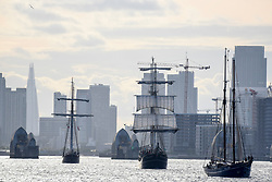 © Licensed to London News Pictures. 16/04/2017. London, UK. TS Thalassa (C) passes by.  More than 30 ships from around the world take part in the Parade of Sail, the culmination of the Royal Greenwich Tall Ships Festival 2017.  Greenwich also marks the start of the Rendez-Vous 2017 Tall Ships Regatta, where these ships will journey to Quebec to mark the 150th anniversary of the Canadian Confederation. Photo credit : Stephen Chung/LNP