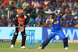April 29, 2018 - Jaipur, Rajasthan, India - Rajasthan Royals batsman Sanju Samson plays a shot during the IPL T20 match against Sunrisers  Hyderabad at Sawai Mansingh Stadium in Jaipur on 29th April,2018. (Credit Image: © Vishal Bhatnagar/NurPhoto via ZUMA Press)