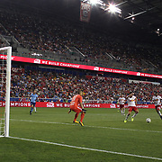 HARRISON, NEW JERSEY- AUGUST 25: Maximiliano Moralez #10 of New York City FC scores his sides first goal beating Luis Robles #31 of New York Red Bulls during the New York Red Bulls Vs New York City FC MLS regular season match at Red Bull Arena, Harrison, New Jersey on August 25, 2017 in Harrison, New Jersey. (Photo by Tim Clayton/Corbis via Getty Images)