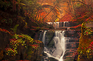 Cascade of waterfalls under a stone bridge in an autumn forest