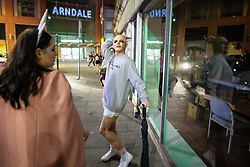 © Licensed to London News Pictures . 27/10/2018. Manchester, UK. A reveller dressed up as Britney Spears on a night out outside the Printworks in Manchester City Centre , on the weekend before Halloween . Photo credit: Joel Goodman/LNP