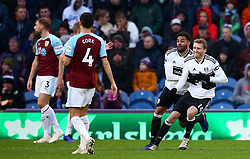 Fulham's Andre Schurrle celebrates scoring his side's first goal of the game during the Premier League match at Turf Moor, Burnley.