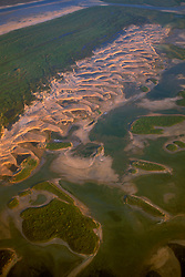 Aerial view of the sand dunes on Padre Island
