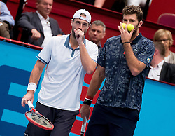 30.10.2016, Stadthalle, Wien, AUT, ATP Tour, Erste Bank Open, Finale, Doppel, im Bild v.l. Oliver Marach (AUT), Fabrice Martin (FRA) // f.l. Oliver Marach of Austria and Fabrice Martin of France during the doubles final match of Erste Bank Open of ATP Tour at the Stadthalle in Vienna, Austria on 2016/10/30. EXPA Pictures © 2016, PhotoCredit: EXPA/ Sebastian Pucher