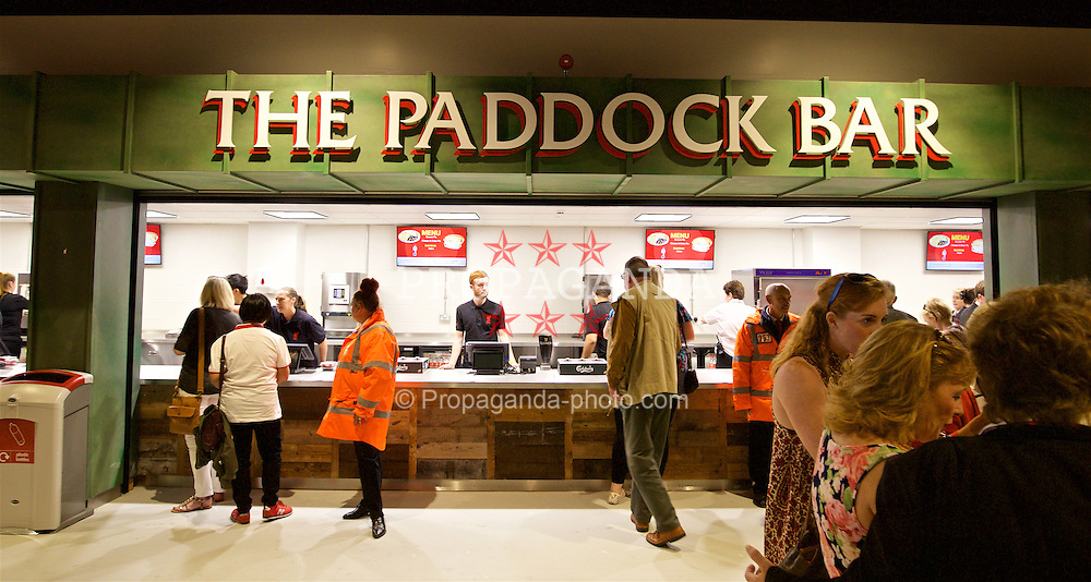 LIVERPOOL, ENGLAND - Monday, August 29, 2016: The Paddock Bar on the concourse of Liverpool's new Main Stand at it undergoes testing as supporters experience the newly rebuilt stand for the second time at Anfield. (Pic by David Rawcliffe/Propaganda)