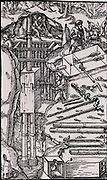 Draining a mine using a duplex suction pump.  The box ABCD, shown in detail on the right, contained the crank which operated the piston.  From 'De re metallica', by Agricola, pseudonym of Georg Bauer (Basle, 1556).  Woodcut.