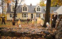Scarecrow display gets into the spirits of Halloween.  (Karen Bobotas/for the Laconia Daily Sun)