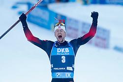 Sturla Holm Laegreid of Norway. celebrates after winning during the IBU World Championships Biathlon 15 km Mass start Men competition on February 21, 2021 in Pokljuka, Slovenia. Photo by Vid Ponikvar / Sportida