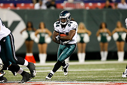 Philadelphia Eagles running back Eldra Buckley #34 runs the ball during the NFL game between the Philadelphia Eagles and the New York Jets on September 3rd 2009. The Jets won 38-27 at Giants Stadium in East Rutherford, NJ.  (Photo By Brian Garfinkel)