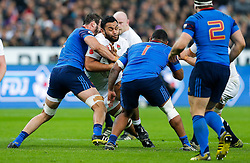 England Number 8 Billy Vunipola is tackled by France Lock Yoann Maestri and Prop Jefferson Poirot - Mandatory byline: Rogan Thomson/JMP - 19/03/2016 - RUGBY UNION - Stade de France - Paris, France - France v England - RBS 6 Nations 2016.