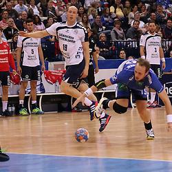 Hamburg, 24.05.2015, Sport, Handball, DKB Handball Bundesliga, HSV Handball - SG Flensburg-Handewitt : Henrik Toft Hansen (HSV Handball, #15), Mattias Andersson (SG Flensburg-Handewitt, #01)<br /> <br /> Foto © P-I-X.org *** Foto ist honorarpflichtig! *** Auf Anfrage in hoeherer Qualitaet/Aufloesung. Belegexemplar erbeten. Veroeffentlichung ausschliesslich fuer journalistisch-publizistische Zwecke. For editorial use only.