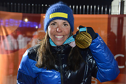 February 10, 2018 - Pyeongchang, South Korea - CHARLOTTE KALLA of Sweeden poses with the gold medal after winning the ladies' 7.5km + 7.5km Skiathlon event in the PyeongChang Olympic games. (Credit Image: © Christopher Levy via ZUMA Wire)