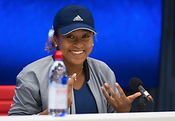 September 5, 2018 - Naomi Osaka of Japan talks to the media after she reached the semi-final at the 2018 US Open Grand Slam tennis tournament. New York, USA. September 05, 2018. (Credit Image: © AFP7 via ZUMA Wire)