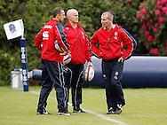 Picture by Andrew Tobin/Tobinators Ltd +44 7710 761829.24/05/2013.Stuart Lancaster (R) with England assistants during the England training session at Pennyhill Park, Bagshot ahead of the match against the Barbarians on 26th May 2013.
