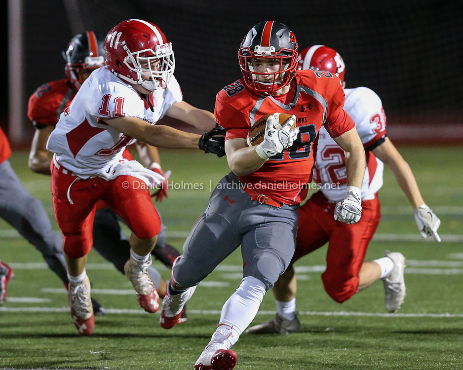 (9/29/17, MILFORD, MA) Milford's Ryan O'Toole runs through the defense during the football game against North Attleborough at Milford High School on Friday. [Daily News and Wicked Local Photo/Dan Holmes]