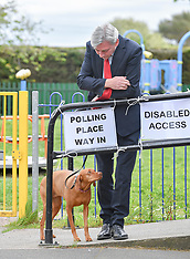 Richard Leonard voting in European elections, Glasgow, 23 May 2019