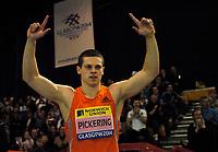 Photo: Richard Lane.<br />Norwich Union International, Glasgow. 27/01/2007. <br />Great Britain's Craig Pickering celebrates winning the mens 60m.