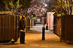 © Licensed to London News Pictures. 20/03/2019. London, UK. The scene in  Knights Close Hackney, east London where a A 28-year-old man was shot by armed police after reportedly making threats to kill while armed with knives. Photo credit: Ben Cawthra/LNP