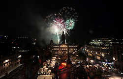 Fireworks display during the 2018 European Championships Great Big Opening Party at George Square, Glasgow.