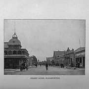 Street Scene Bloemfontein [Here as Bloomfontein] from the book ' Boer and Britisher in South Africa; a history of the Boer-British war and the wars for United South Africa, together with biographies of the great men who made the history of South Africa ' By Neville, John Ormond Published by Thompson & Thomas, Chicago, USA in 1900