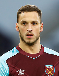 """West Ham United's Marko Arnautovic during the Premier League match at the John Smith's Stadium, Huddersfield. PRESS ASSOCIATION Photo. Picture date: Saturday January 13, 2018. See PA story SOCCER Huddersfield. Photo credit should read: Martin Rickett/PA Wire. RESTRICTIONS: EDITORIAL USE ONLY No use with unauthorised audio, video, data, fixture lists, club/league logos or """"live"""" services. Online in-match use limited to 75 images, no video emulation. No use in betting, games or single club/league/player publications"""