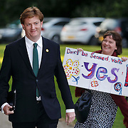 Referendum debate from Kelvingrove , Glasgow. Broadcast on the BBC.  Danny Alexander arrives.   25th Aug 2014<br /> <br /> Must credit photo to Robert Perry<br /> FEE PAYABLE FOR REPRO USE<br /> FEE PAYABLE FOR ALL INTERNET USE<br /> www.robertperry.co.uk<br /> NB -This image is not to be distributed without the prior consent of the copyright holder.<br /> in using this image you agree to abide by terms and conditions as stated in this caption.<br /> All monies payable to Robert Perry<br /> <br /> (PLEASE DO NOT REMOVE THIS CAPTION)<br /> This image is intended for Editorial use (e.g. news). Any commercial or promotional use requires additional clearance. <br /> Copyright 2014 All rights protected.<br /> first use only<br /> contact details<br /> Robert Perry     <br /> 07702 631 477<br /> robertperryphotos@gmail.com<br /> no internet usage without prior consent.         <br /> Robert Perry reserves the right to pursue unauthorised use of this image . If you violate my intellectual property you may be liable for  damages, loss of income, and profits you derive from the use of this image.