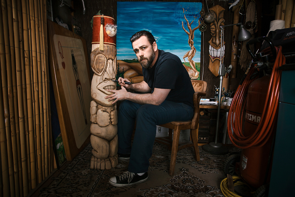 Tiki carver Jim Inglis at his home, Jan 30, 2013 in Redondo Beach, California.