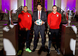 CARDIFF, WALES - Wednesday, August 31, 2016: Wales' manager Chris Coleman with captain Ashley Williams and Gareth Bale and the two European Cup trophies on display during a gala dinner at the Cardiff Museum to launch the UEFA Champions League Finals 2017 to be held in Cardiff. (Pic by David Rawcliffe/Propaganda)