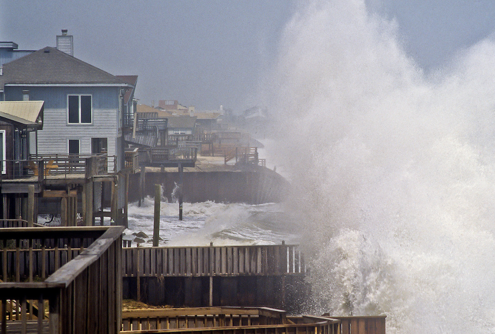 A hurricane batters the Atlantic Coast.